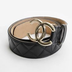 CHANEL Materotto Belt Black Leather