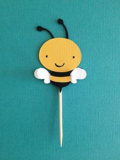 Yellow and Black Mom to Bee Baby Shower Bumble Bee Cupcake Toppers with 3D wings on Etsy, $10.00