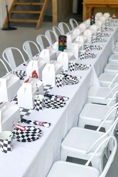 Don't miss this fantastic race car birthday party! The table settings are fantastic! See more party ideas and share yours at CatchMyParty.com