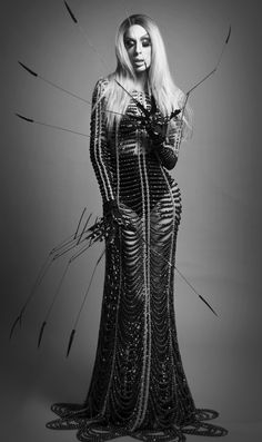 Alaska Thunderfuck Photo - Alberto Lanz LANZ LANZ LANZ Creative Direction - iwasborntobecheap Stylist - Juan Carlos Plascencia (JUKA) Black Crystal Dress & Metal Claws - Manuel Díaz - Fashion Designer