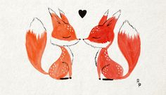 Fox Love Art Print by Mustashleigh | Society6
