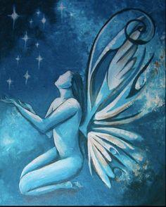 "Beautiful soul original art ""Make a Wish"" blue angel from isabelivy on Etsy Human Soul, Yoga Photography, Beautiful Yoga, Make A Wish, Butterflies, Original Art, Angel, The Originals, Tattoos"