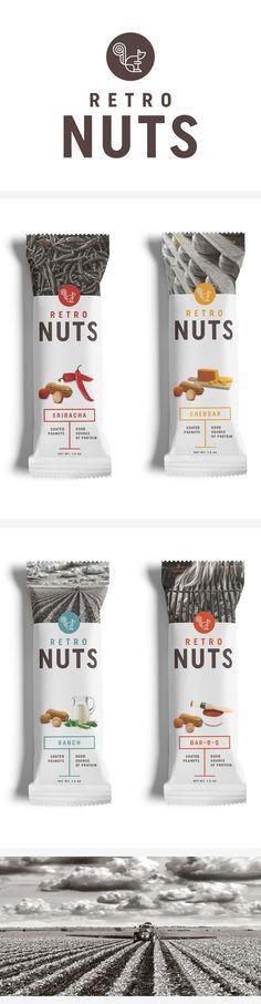 test monki, retro nuts, packaging design, food packaging design, branding, brand identity, graphic design, logo design, retro logo