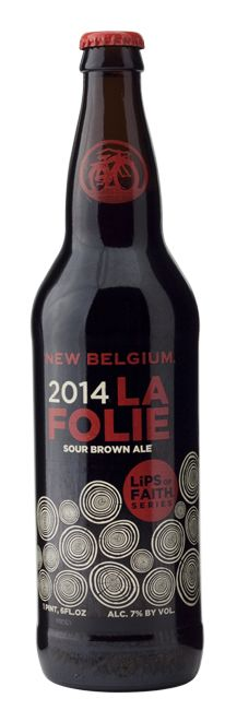 NEW BELGIUM LA FOLIE 2014 ~ Sharp, snappy, fruity and mega-tart: This isn't a sour for beginners. Let the sourness zap your tongue for the first few sips, then hunt for nuances of wood, earth, green apple and berry. The swallow's zippy, funky and dry.