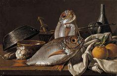still life with bream. luis mendez, 1772.