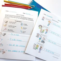 """Perfect for late French Immersion, FSL, or Core French! These avoir worksheets help students practice their conjugations of the French verb for """"to have"""". They use visual cues to answer questions by writing sentences, then write and illustrate sentences of their own! Great for grade five Core French, middle school French, or any beginner French class! #FrenchTeachers #CoreFrench #FSL #CanadianTeachers #BCEd French Basics, French For Beginners, Writing Sentences, Sentence Writing, Learning French For Kids, Teaching French, Core French, French Class, French Worksheets"""