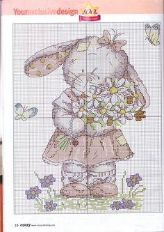 Bunny with flowers cross stitch pattern