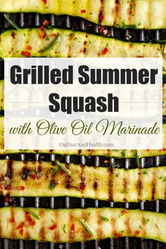 Grilled summer squash with olive oil marinade is easy and flavorful. Squash are soft and fleshy enough to absorb smoke flavor, but contain plenty of water to keep them moist. Experiment with flavors by varying the herbs and the type of olive oil you use. Grilled Squash, Grilled Zucchini, Grilled Vegetables, Grilled Food, Grilled Pizza, Real Food Recipes, Cooking Recipes, Healthy Recipes, Healthy Snacks