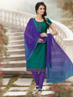 Green Cotton Suit with Lace Work