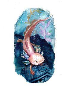 art criativa Axolotl Crystal watercolor art p - art Surreal Tattoo, Surreal Art, Axolotl Cute, Art Tumblr, Elements Of Art, Watercolor Art, Portrait Art, Cute Art, Black Art