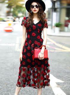 Fashion Hit Color V-neck Mesh Skater Dress | Ezpopsy.com