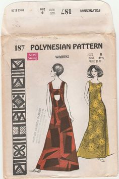 Polynesian Sewing Pattern 187, Waikiki Evening Dress, Size 8, Dress with back square neckline, and lower back opening. Evening/ankle length, sleeveless. Includes pattern for bikini bottoms.