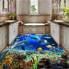 Awesome Dolphins in the Sea Painting Wallpaper Splicing Waterproof Floor Murals Floor Murals, Floor Art, Floor Rugs, Wall Murals, Floor Wallpaper, Painting Wallpaper, Custom Wallpaper, Wall Art Designs, Cool Designs