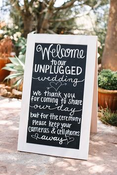 Display this unplugged wedding wording at the entrance to your venue, include in your program or ask your officiant to deliver before your ceremony begins. Wedding Ceremony Script, Unplugged Wedding Sign, Wedding Reception Venues, Wedding Signage, Wedding Reception Decorations, Wedding Programs, Reception Halls, Wedding Ceremony Ideas, Ceremony Programs