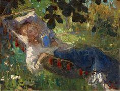 Robert Graafland, lezend meisje in hangmat, 1910