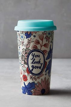 Anthropologie EU Sweet Salutation Travel Mug by Molly Hatch. Molly Hatch is an artist-of-all-trades who creates everything from furniture to jewellery to pen-and-ink drawings, but we especially love her idiosyncratic ceramics. Coffee Cups, Tea Cups, Molly Hatch, Bohemian Kitchen, Kitchenware, Tableware, Cute Mugs, Mug Cup, Kitchen Dining