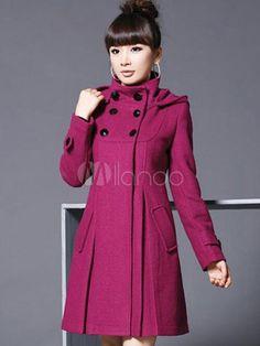 Stand de manteau en laine Tweed croisé col capuche manches longues pour femme