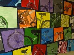 grade monochromatic value bicycle painting. I like the idea of kids picking their object, then zooming in Classe D'art, Bicycle Art, Bicycle Painting, Bicycle Design, 7th Grade Art, Middle School Art Projects, Atelier D Art, Ecole Art, Elements Of Art