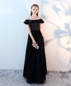 Simple black v neck long prom dress, black evening dress