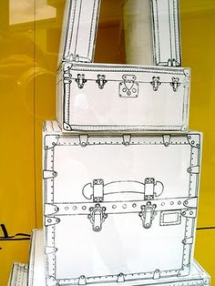 Window display idea: Shoe boxes - painted white - then doodled on to look like vintage suitcases. We have tons of shoe boxes Vintage Suitcases, Vintage Luggage, Vintage Trunks, Do It Yourself Baby, Do It Yourself Inspiration, Style Inspiration, Creation Deco, Paper Crafts, Diy Crafts