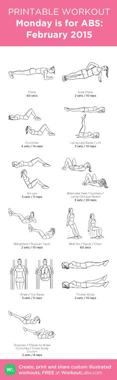 Monday is for ABS: February 2015 my visual workout created at WorkoutLabs.com • Click through to customize and download as a FREE PDF! #customworkout