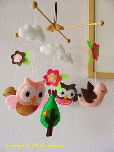 Nursery Pink and Brown owl mobile... Love this theme for a baby girl!!