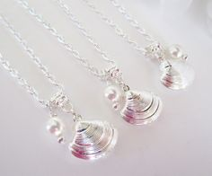 Seashell Necklace, Beach Wedding Jewelry, Bridesmaids Necklaces, Bridal Necklace, Swarovski Pearls, Charm Necklace, Bridesmaid Gifts,Shell by Uniquebeadables on Etsy
