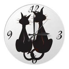Two Black Cats Wall Clock by PetsandVets  http://www.zazzle.com/two_cats_and_butterflies_wall_clock-256312359003506384?rf=238346027810244797