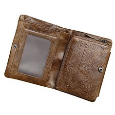 contacts mens genuine leather cowhide short three fold wallet brown color contacts http - Color Contacts Amazon