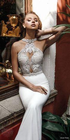 julie vino spring 2018 bridal sleeveless halter neck heavily embellished bodice elegant chic fit and flare sheath wedding dress rasor back chapel train (11) zv