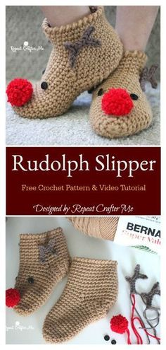 Crochet Tutorial Patterns Rudolph Reindeer Slipper Socks Free Crochet Pattern and Video Tutorial - This Rudolph Reindeer Slipper Socks Free Crochet Pattern is warm and comfortable and fits perfectly without slipping. It is very well illustrated. Crochet Socks Pattern, Crochet Shoes, Crochet Slippers, Knitting Patterns Free, Knitting Tutorials, Loom Knitting, Free Knitting, Stitch Patterns, Free Pattern