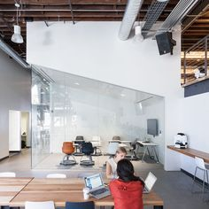 The San Francisco headquarters for photo-sharing website Pinterest is housed in a converted warehouse filled with two-storey white volumes