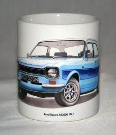 Classic Car Mug. Ford Escort, Mk1, Christmas Presents, Classic Cars, How To Draw Hands, Illustration, Etsy, Hand Drawn, Amazon