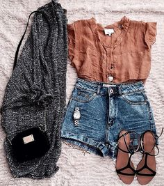 Love the grey cardigan and black purse and sandals. The top, maybe I would try, but not a huge fan of it.