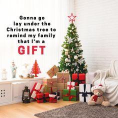 I am a gift! Christmas Tree, Holiday Decor, Gifts, Home Decor, Teal Christmas Tree, Presents, Decoration Home, Room Decor, Xmas Trees