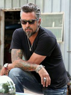 """abiroux: """" This is Richard Rawlings, owner of Gas Monkey Garage in Texas. He's on the show Fast and Loud on Discovery Channel, and he has the most epic hair on TV. """" Richard has held several jobs to feed his car habit. He was a firefighter, police. Richard Rawlings, Discovery Channel, Kristen Ashley Books, Fast N Loud, Gas Monkey Garage, Motorcycle Men, Silver Foxes, Raining Men, Older Men"""