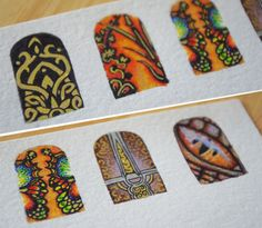 Hand-drawn nail wraps (to be) by @Klaire de Lys. Drool!