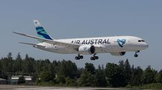 Air Austral Boeing 787-8 Dreamliner F-OLRC on final approach to Everett-Paine Field, May 2016. The first Dreamliner for Réunion-based Austral, F-OLRC was originally earmarked for ANA and then Transaero, but not taken up by either. (Photo via Flickr: Woody's Aeroimages)