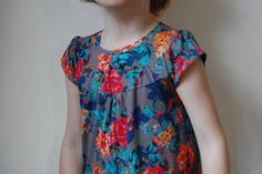rae's flashback skinny tee (front view) into a yoke/gathered shirt dress