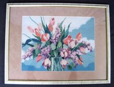 Vtg-Framed-Floral-Bouquet-Tulips-Lilacs-Flowers-Completed-Needlepoint-26-x-20