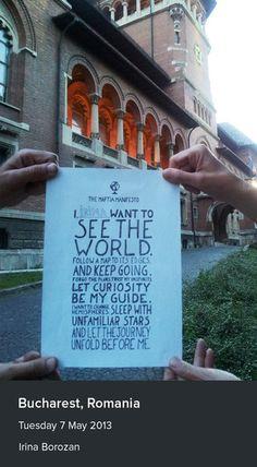 Irina's manifesto in Bucharest, Romania. This makes me think of joy!