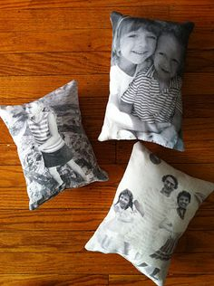 DIY Photo Pillows by marthastewart: Great for Mother's Day! #DIY #Photo_Pillow. I think I'll be getting this for momma.