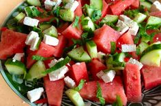 Summer salad with watermelon, feta and mint - Salat I Love Food, Good Food, Yummy Food, Mozarella, Watermelon And Feta, Food Porn, Vegetarian Recipes, Healthy Recipes, Pasta Salad Recipes