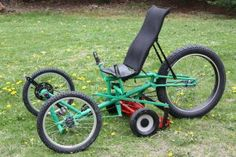 Recumbent bicycle lawn mower! I seen the Bicycle version, this looks like it is easier to use than the bike version.