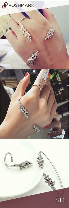 COMING SOON.....Fashion Palm bracelet with ring Condition: 100% brand new And highh quality Material: silver plated+ crystal Color: silver Style: fashion  Ring Size: Size 8  Bracelet Diaater Size: 7cm*3.4cm (adjustable) ring length: 4cm ring in none Accessories