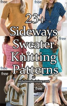 Knitting Patterns for tops, cardigans, and pullover sweaters jumpers knit from side to side. Most patterns are free, some are for purchase. Many are knit in one piece. Sweater Knitting Patterns, Free Knitting, Pullover Sweaters, Cardigans, Free Pattern, Short Sleeves, Vest, One Piece, Jumpers