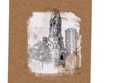 #Berlin ilana graf's art #urban #building #church #street   #illustration by ilana Graf illustrator