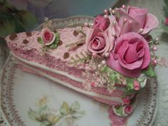 Fake Shabby Pink Roses Victorian Cake Slice: For Decorative Purposes Only.