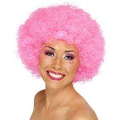 Parrucca da donna rosa pink. Scopri anche altre parrucche in vendita su http://www.eccolafesta.it/parrucca-afro-pink.html