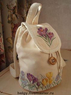 Купить рюкзачок с вышивкой - рюкзак, рюкзачок, ручная вышивка, Вышивка крестом, крокусы, крокус